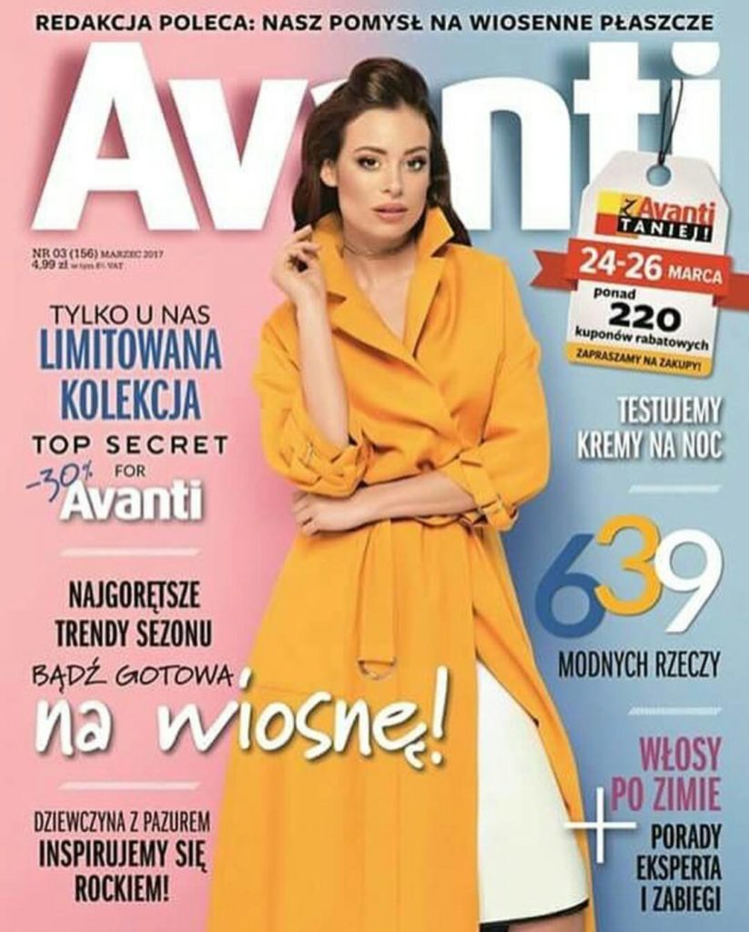 Justyna on the cover of Avanti Magazine